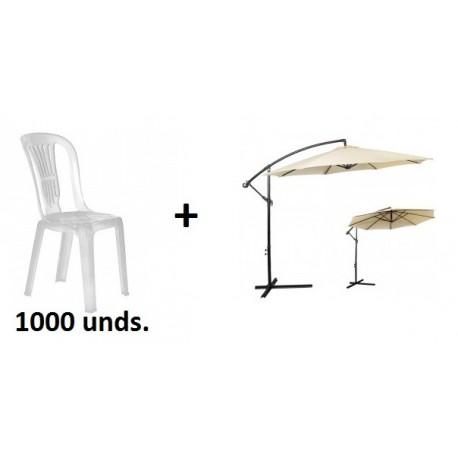 Promoción de 1000 sillas PVC con regalo de 2 sombrillas