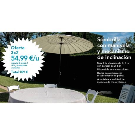 Promoción 3x2 Sombrilla con manivela